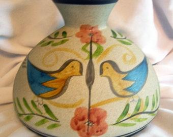 Hand Painted Amish Bird Motif Art Pottery Vase | Vintage Circa 1960s - 1970s