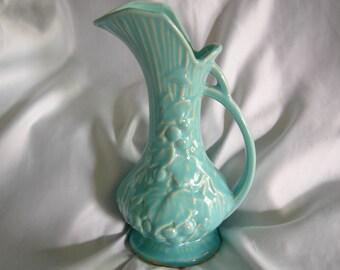 9 Inch Blue McCOY Handled Pitcher Ewer Vase | Made in USA | Vintage Mid Century