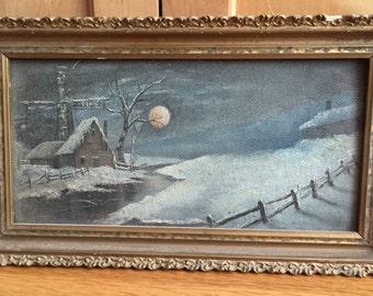 Original Victorian Oil on Board Framed Painting Winter Scene Farmhouse w Windmill Evening Sky Full Moon
