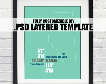 Alberta Canada Coordinate Print - Personalized DIY PSD Layered Template, Wedding or Anniversary Gift, Digital Download Map, Bridal Shower