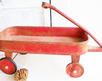 Vintage Little Red Wagon /Pull Wagon/ Rustic Primitive/ Childs Wagon/Holiday Decor/Roadmaster Wagon Original Finish /Photo Prop