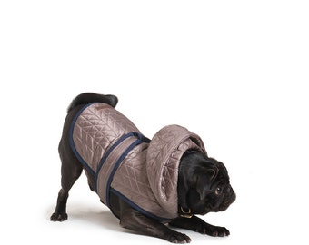 Quilted Nylon Puffer Jacket with Shearling Lining - Grey Taupe, Pet Apparel, Dog Jacket