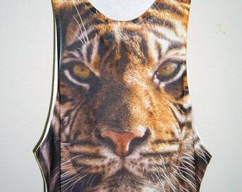 Tiger Bengal Animal Art Screen Printed Men T Shirts Tank Tops Men T Shirt Sleevelss Tee White Men T-Shirts Singlet M