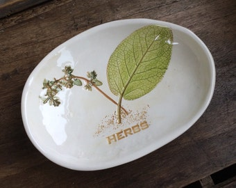 Sage herb Bowl, sage ring dish, sage and thyme herb dish, Herb soap dish, Cullinary Gift, Sage Herbs, Herb Bowl, Herb Spoon Rest, herb decor