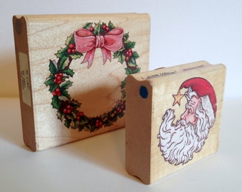 2 Christmas Rubber Stamps Large Holly Wreath & Santa Head From Rubber Stampede Wood Mounted Holiday Scrapbooking Card Making Gift Tag Stamps