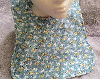 Baby Bib - Blue Bunnies (Exclusive pattern!) 6-12 month