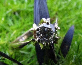 DEADsy LAST GASP SALE Soviet Splendor: Half Carat Diamond Engagement Ring, Antique Ring,  .50ct Vvs Diamond, 18K Yellow Gold Solitaire