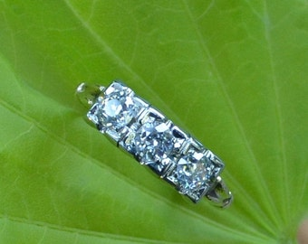 CUPID CHAOS SALE Antique Three Stone Diamond Engagement 1800s Old Mine Cut, Half Carat 1700s Peruzzi Cut, 14K, Victorian, Edwardian