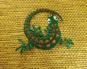 Green Gecko Embroidered Patch. Iron on Patch. Applique. Lizard Patch. Reptile. Upcycle your Gear.