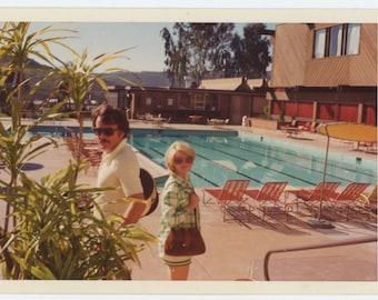 Couple at Pool, 1960s-70s Vintage Snapshot Photo (66470)