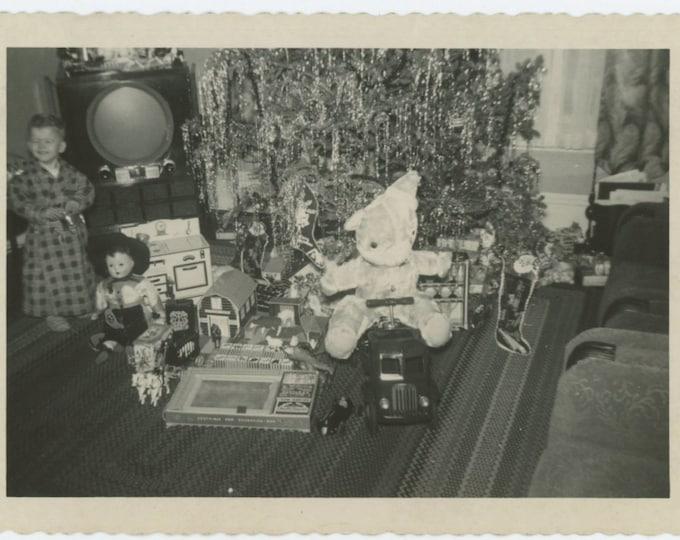 Small Boy Displays His Xmas Loot, 1950 Vintage Snapshot Photo (66476)