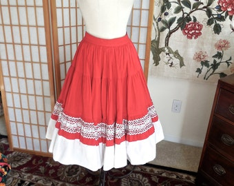 Vintage 50s Squaw Skirt in Red Cotton with Silver Metallic Trim Full Circle Skirt