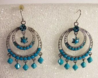 Vintage Blue Bead & Rhinestone Dangle Earrings     For  Pierced Ears    Silver tone
