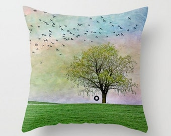 Small Throw Pillow Spring Summer Tree Tire Swing