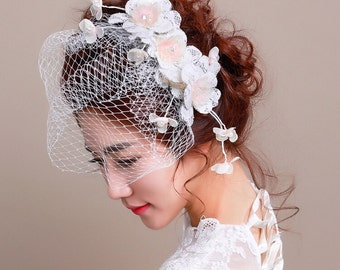Bridal Veil, Birdcage Veil, Wedding Fascinator, Style #266