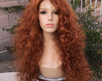 Merida Brave Princess Curly Costume Wig
