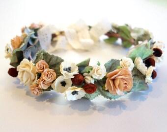 Flower Crown, Winter Wedding, Bridal Flower Crown, Floral Headpiece, Boho Wedding, Blush Wedding, Floral Crown, Bridal Crown, Head Wreath