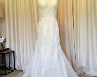 LAST ONE! Ivory & Latte Silk Couture Bridal Gown / Wedding Dress With French Lace