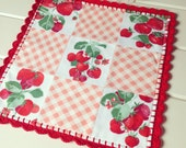 vintage strawberry patchwork table topper