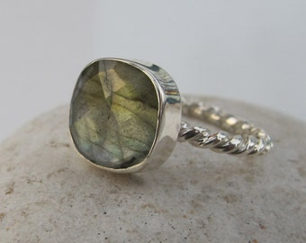 Square Labradorite Stackable Ring- Cushion Cut Faceted Labradorite Ring- Rope Gemstone Ring- Unique Sterling Silver Ring