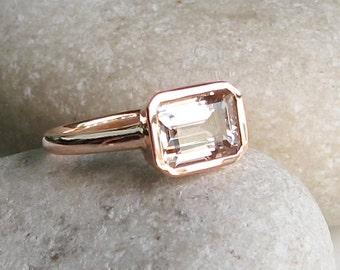 Rectangle Morganite Ring- Rose Gold Ring- Morganite Ring- Bridal Ring- Promise Ring- Engagement Ring- Anniversary Ring- Wedding Ring