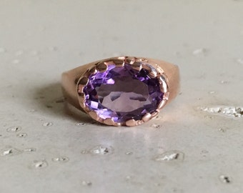 Purple Amethyst Statement Ring- Rose Gold Ring- Oval East West Amethyst Ring- February Birthstone Rings- Purple Gemstone Solitaire Ring