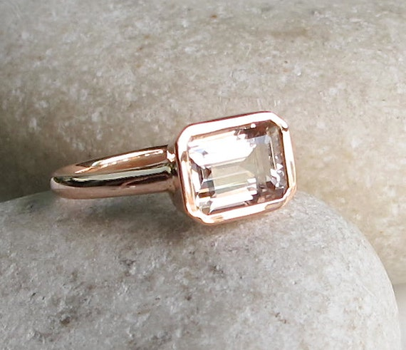 Rectangle Morganite Ring Rose Gold Promise Ring Emerald