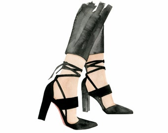 Sensible Shoes, print from original watercolor and mixed media fashion illustration by Dena Cooper