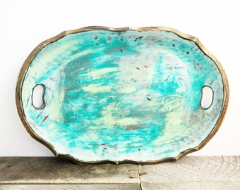 Turquoise and Grey Tray - Modern Bright - Vintage Upcycled - Large Decorative Tray