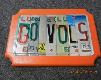 Go Vols License Plate Sign Tennessee Volunteers on wood or metal for the bumper of your vehicle (Made to Order)