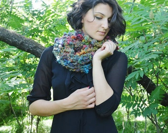 Chunky Rainbow Scarf - Handknit Shawl- Handknit Scarf- Handspun Wool Scarf- Artisan Yarn