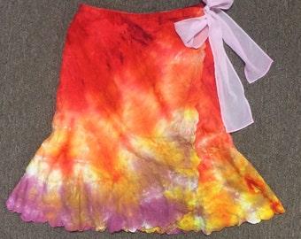 Funky Tie Dye misses Wraparound Skirt size 10 W046