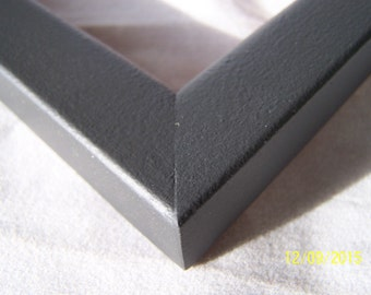 One 16 x 20 Ready to Ship Picture Frame ~ 1 in x 3/4 x 1/2 Moulding ~  Flat profile ~ Satin Black Magic