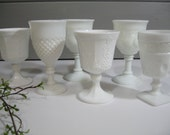 RESERVED FOR Ericka!!!  Milk Glass Goblets, Beverage Glasses, Variety set, Instant Collection, Shabby Chic, Wedding Tablesetting