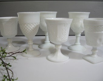 Milk Glass Goblets, Beverage Glasses, Variety set, Instant Collection, Shabby Chic, Wedding Tablesetting
