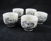 Asian Tea Cup Set of 5 Cups, Japanese Marked, White porcelain, Gold Trim