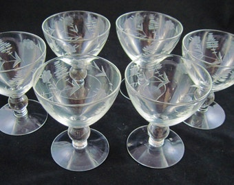 Mikasa Champagne Sherbets, Knob Stem, Etched, Glass Set of 6 for Champagne or Desserts