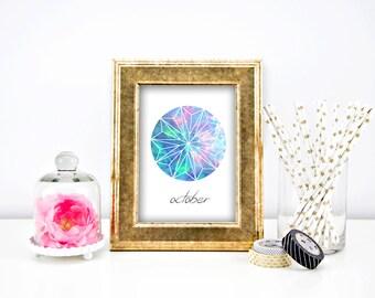 October Gemstone Opal Watercolor DIY Instant Digital Download Printable Wall Art