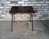 End table, reclaimed wood, steel solid rod legs, felt gliders, made to order