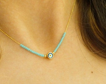 Turquoise evil eye necklace fashion jewelry turkish accessories evil eye jewelry arabic necklace gifts for women best friend birthday