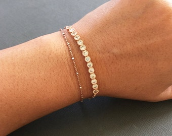 CZ Rose Gold chain Bracelet, Rosegold bracelet, gift for her, Double layered bracelet, Wedding jewelry, Bridesmaid bracelet, muse411