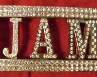 """Vintage Rhinestone Belt Buckle """"JAM"""""""
