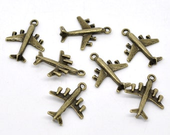 10 Pieces Antique Bronze Airplane Charms