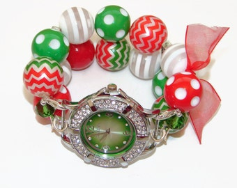 CLEARANCE - The Colors of Christmas Chunky Beaded Watch - Interchangeable Watch - Christmas Bracelet Watch - Unique Gift - BeadsnTime