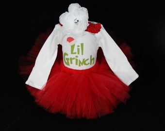 Baby's First Christmas Outfit - Personalize 1st Christmas - My First Christmas Tutu -Lil Grinch - My First Christmas - CT1511