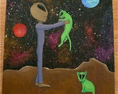 """Free shipping! """"Alien With Pet Cats"""" original painting"""