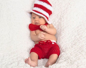 Crochet Cat in the Hat, Baby boy Halloween costumes, Baby boy Cat in the hat,  Newborn Halloween Costumes, Dr Seuss Hat Outfit