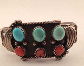 Vintage 1960s sterling turquoise and coral cuff
