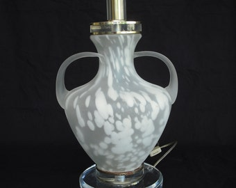 Reticulated white glass lamp