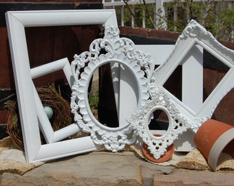 Shabby Chic Frames - Set Of White Picture Frames - Picture Frame Collection